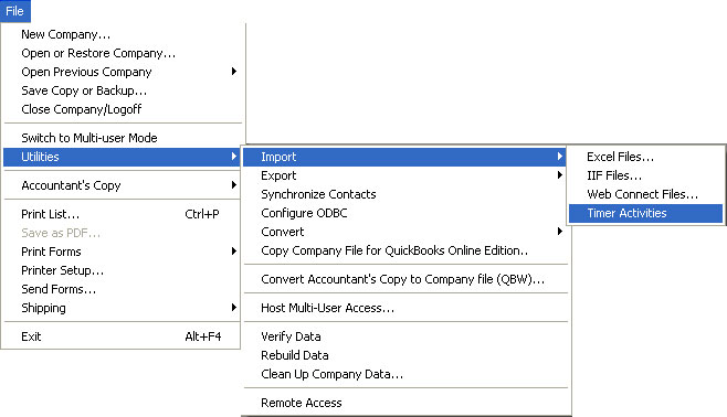 QuickBooks IIF Timer Import Instructions