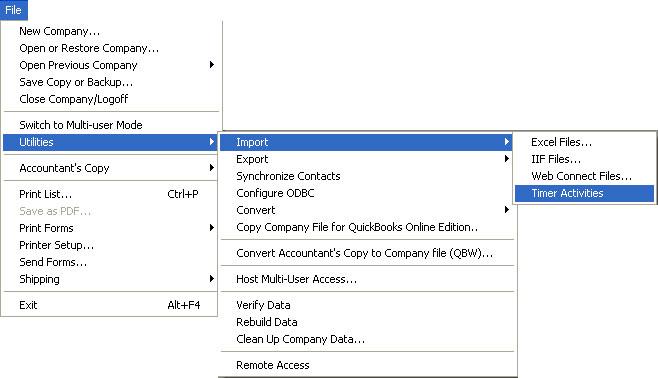 QuickBooks IIF Timer Import Instructions